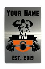 Custom Personalised Gym Name, Est. Year Metal Aluminium Plaque Sign Door Fitness