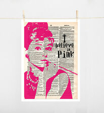 TYPOGRAPHY ART PRINT ON PAPER SIZE A4 AUDREY HEPBURN QUOTE I BELIEVE IN PINK