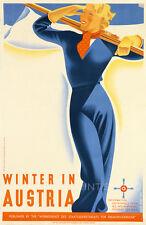 Ski Austria Vintage Travel Poster Reproduction Canvas Print 30x46