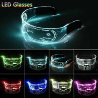 Cyberpunk Clear Lenses 7 Color LED Light Visor Glasses Goggles 4 Halloween Party