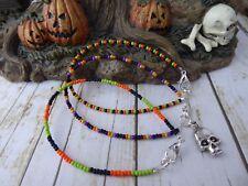 Juego de 3 Pulseras De Halloween Calavera semilla del grano otoño naranja verde púrpura negro