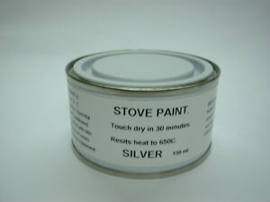 150ml Stove Paint Brush On Silver. Heat Resistant 650C Wood Burner Grate Exhaust