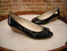Markon Bello Black Patent Leather Peep-toe Low Wedge Pump 6 NEW