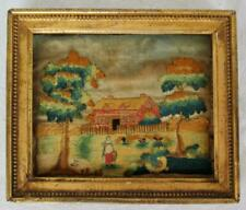 19th C Silk Embroidered Needlework Picture Farm Scene Woman Chickens Frame  US