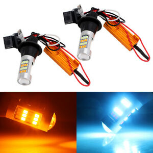 T20 7440 7441 992 2835 42SMD Amber/ Ice Blue Switchback LED Turn Light Bulb Kit