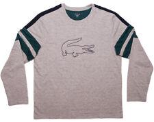 LACOSTE Men's Long Sleeve Shirt Sleepwear Big Croc Logo Gray Green Large L