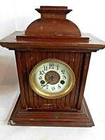 Vintage Wooden Cased Mantel Clock Maker H.A.C 14 Day Strike Untested