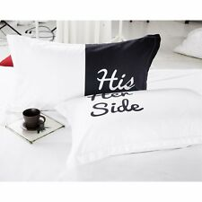 Lovers Couple Pillowcase His and Hers Pillow Cover Wedding Bedding Queen Size