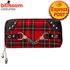 RKN46 Banned Red Tartan Gothic Rockabilly Wallet Punk Pin Up Rock Checked Purse