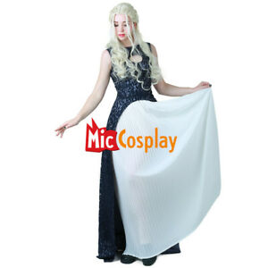 Daenerys Targaryen Dress Daenerys Costume Dark Navy Blue White Dress Cosplay