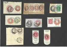 GB Postal Stationery 9x QV & KEVII Compound & other Cut Outs used various canels