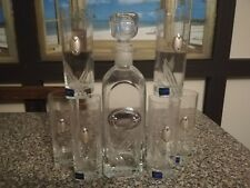 Bottiglia e 6 Bicchieri liquore Cristallo e Argento 925