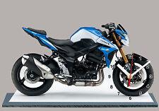 MOTO, SUZUKI GSR -750-01 bleu, EN HORLOGE MINIATURE