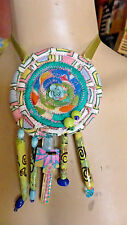 Handmade Art Fabric Necklace Multicolor With Beads Painted Key one of a kind