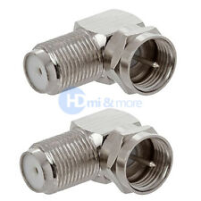 F Type Right Angle 90 Degree Connector Adapter Plug Coax HD RG59 RG6 - LOT of 2