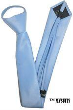 Men LIGHT BLUE Skinny Slim Zip Up Neck Tie