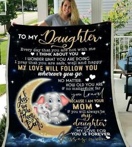 Elephant Mom To My Daughter I Love You To The Moon And Back Sherpa Blanket