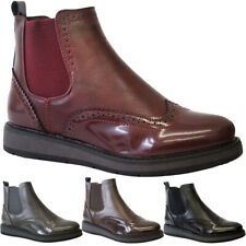 Womens Ankle Chelsea Brogue Boots Ladies Casual Flats Slip On Winter Shoes Size
