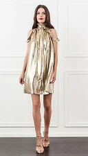 NWT Rachel Zoe Gold  Silk Blend Dress Size 4 $395
