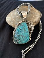 XL MENS GIFT NAVAJO TURQUOISE#8 STERLING SILVER NECKLACE PENDANT 4617