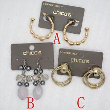 Chicos jewelry hoop drop bamboo earring post stud pierced gold tone resin beaded