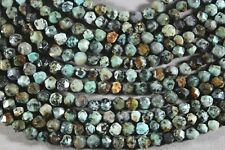 """NATURAL AFRICAN 'TURQUOISE' JASPER 6MM FACETED PEBBLE BEADS 16"""" STRAND"""