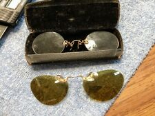 Antique Polaroid Clip-On Sunglasses W/ An Antique Pair Of Glasses with a Case.