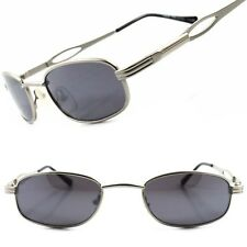 Classic Vintage Retro 80's Urban Fashion Mens Small Silver Rectangle Sunglasses