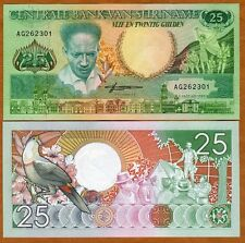 Suriname, Surinam, 25 Gulden, 1988, P-132, UNC > Toucan