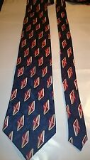 Jones of New York Men's Vintage Silk Tie in Navy Blue with a Red Pattern