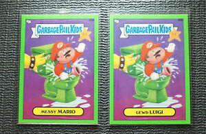 Messy Mario 45a & Lewd Luigi 45b Garbage Pail Kids 2012 BNS1 Green Border