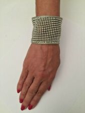 .925 SS PLATED CUFF BRACELET 50 MM WIDE WITH 3 MM BEADS IN MESH DESIGN J 403