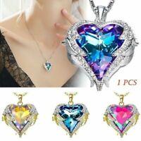 Fashion Lady Angel Wing Necklace Heart Rhinestone Crystal Chain Pendant Jewelry