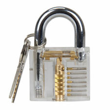 Practice Transparent Cutaway visible Padlock Training Skill Pick Locksmith Clear
