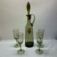 Vintage Smoky Cordial Bottle with Stopper and 4 Glasses Atomic Star Burst