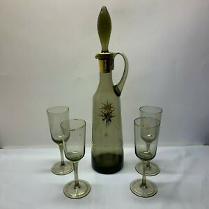 Vintage Smoky Decanter with Stopper and 4 Cordial Glasses Atomic Star Burst
