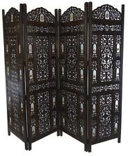 4 Panel Carved Heavy Duty Indian Wooden Bells Design Screen Room Divider
