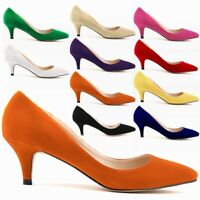 Womens Ladies Low Mid Kitten Heels Office Work Formal Stiletto Pumps Court Shoes