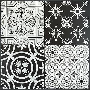 Floor Tiles Self Adhesive Vinyl Flooring Kitchen Bathroom Patterned Black Grey