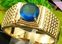 BAGUE PLAQUE OR   18K SAPHIR BLEU SYNTHETIQUE 7  MM . T 63