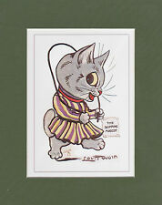 MOUNTED LOUIS WAIN CAT PRINT  -  MASCOTS  -  THE  SKIPPING  MASCOT