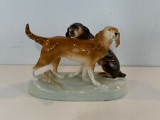 Vintage Royal Dux Porcelain Pointer & Retriever Hunting Dogs Figurine