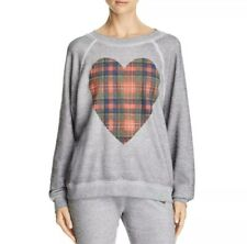New Wildfox Women's Size Small Sweatshirt Gray Plaid Heart Super Soft