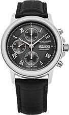 'Aigai' Black Leather Watch A473-01 Alexander Men's Swiss Made Automatic Chrono