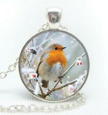 """Silver plated 18"""" chain and pendant necklace with glass cabochon RED ROBIN (4)"""