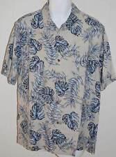 Tommy Bahama Shirt M NWT Aqua Fresca Khaki Blue Leaves Silk $118 Mens