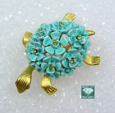 "Vintage Turtle Pin Brooch Turquoise Color Enamel Flowers with Rhinestones 1.5"""