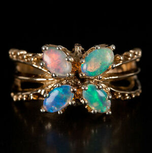 Vintage 1960's 14k Yellow Gold Oval Cabochon Jelly Opal Floral Style Ring .64ctw