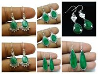 Emerald Solid 925 Sterling Silver Handmade Earrings Traditional Mothers Day Gift