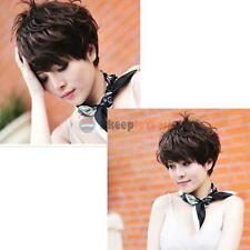 Stylish Women Hair Wig Cosplay Short Fluffy Short Curly Dark Brown Lady Full Wig